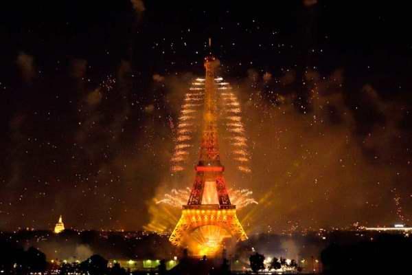 Feu d'artifice14 juillet 2015 Tour Eiffel depuis le Trocadero